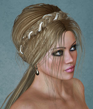 Gretchen Hair Set for V4 3D Figure Assets SWAM