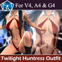 Twilight Huntress Outfit For V4/A4/G4 3D Figure Assets EmmaAndJordi