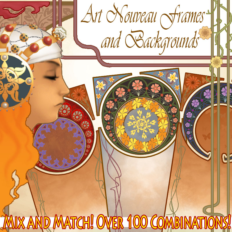 Art Nouveau Mix-n-Match Frames and Backgrounds