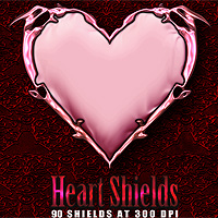 Heart Shields 3D Models 2D Graphics designfera