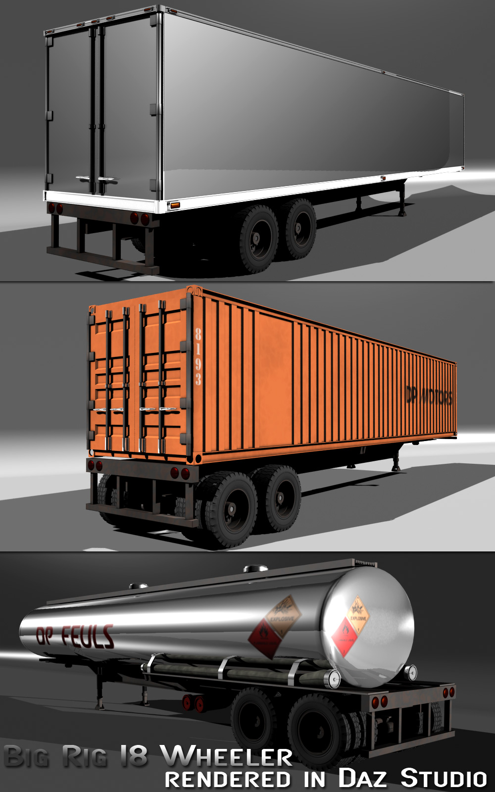 big rig 18 wheeler 3d models lwanmtr