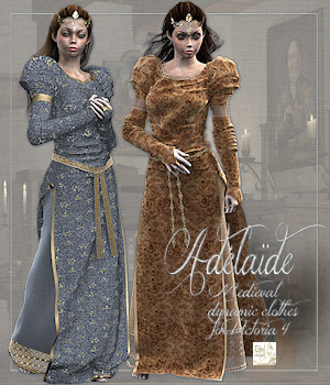 Adelaide dynamic medieval clothes for Victoria 4 3D Figure Essentials 3D Models Tipol