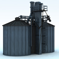 Twin Silo (for Vue) 3D Models Digimation_ModelBank