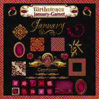 Birthstone Bling!: January-Garnet 2D And/Or Merchant Resources Themed fractalartist01