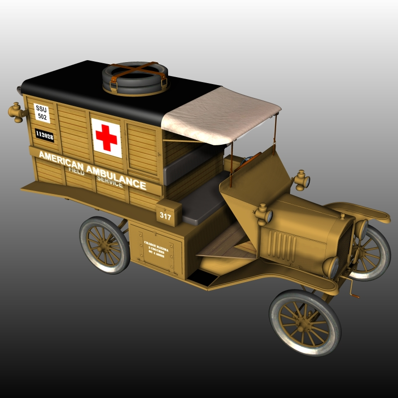 FORD T AMBULANCE 1918 ( for Poser ) by 3DClassics