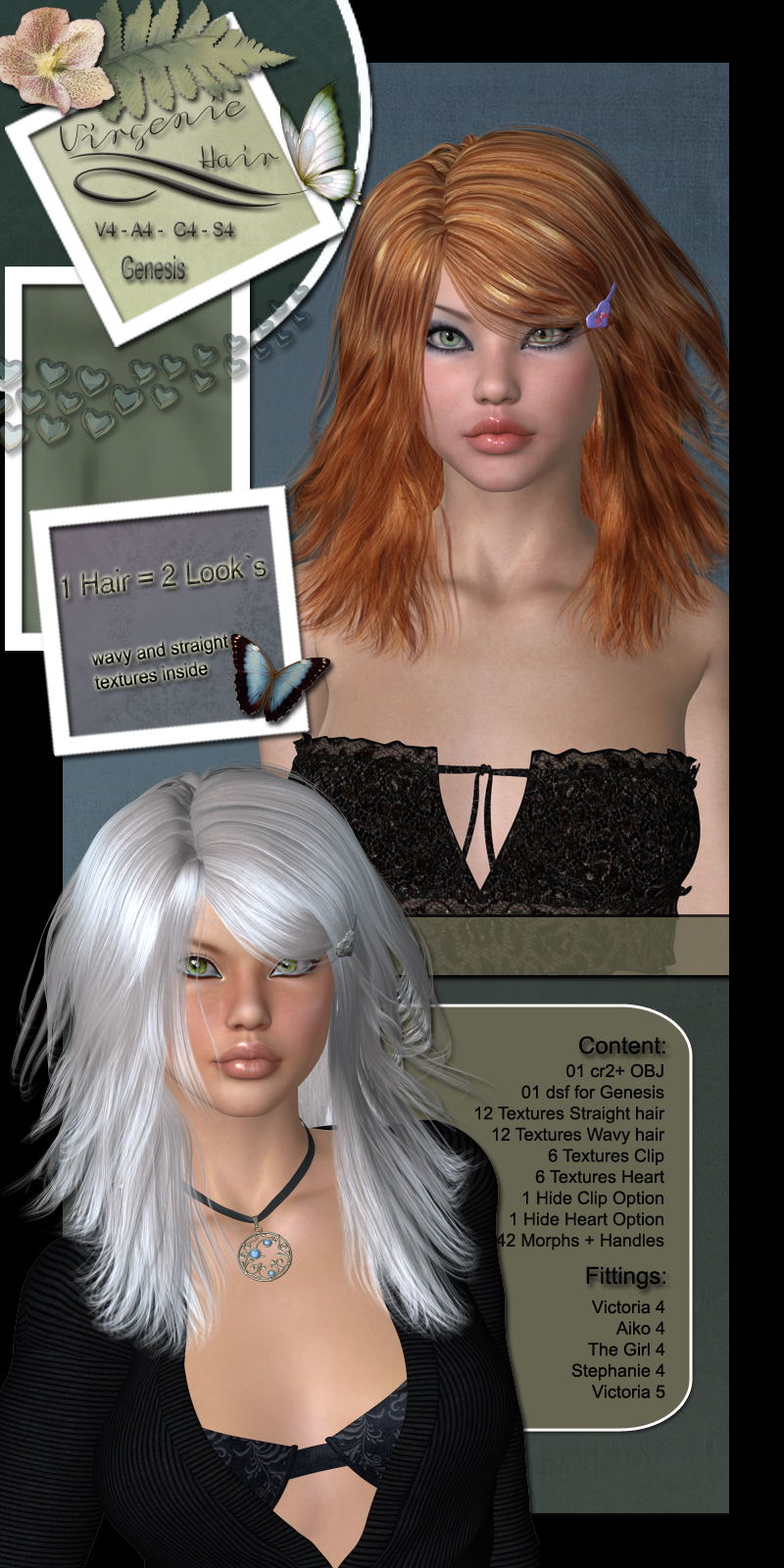 Virgenie Hair for V4 and G1