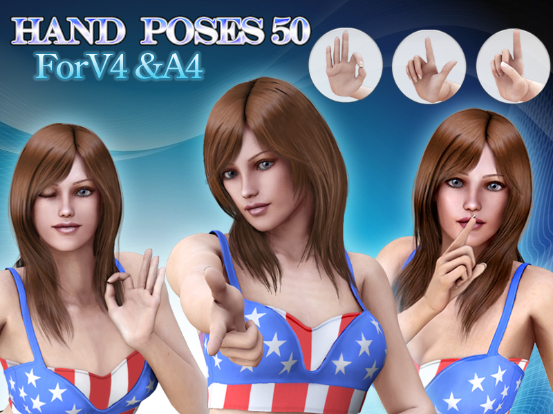 Hand Poses 50 for V4&A4