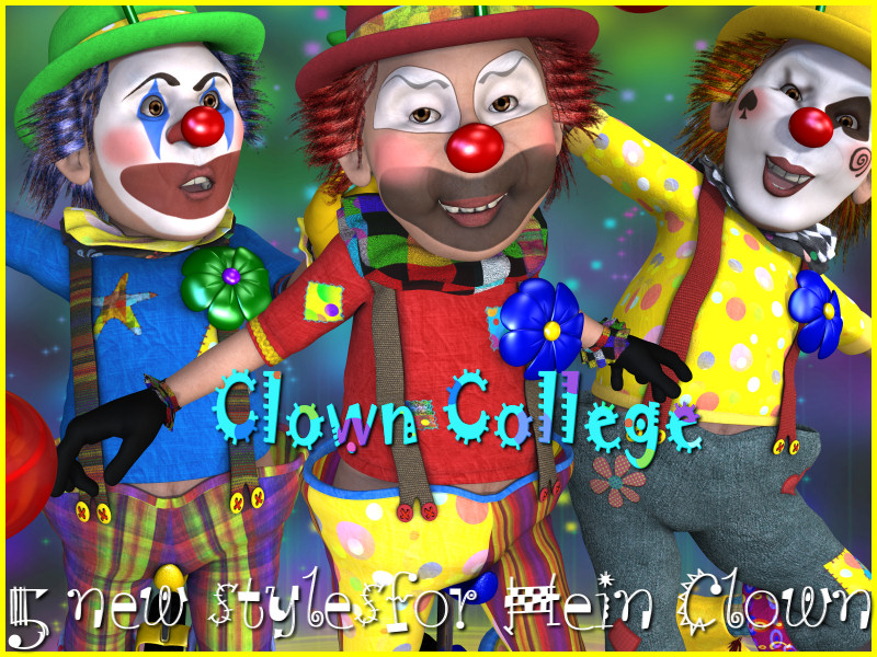 Clown College 3D Figure Assets 3D Models DivabugDesigns