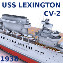 USS Lexington (CV2) 3D Models AliceFromLake
