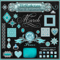Birthstone Bling!: March-Aquamarine Themed 2D And/Or Merchant Resources fractalartist01