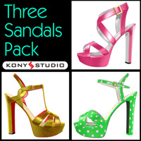 Three Sandals Pack for V4A4 3D Figure Assets kony