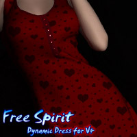 Free Spirt Dynamic Dress for V4 3D Figure Assets kaleya