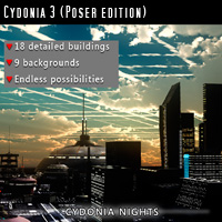 "Cydonia 3 ""Cydonia Nights"" (Poser/DAZ) Software Props/Scenes/Architecture Themed MRX3010"