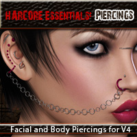 HARDCORE Essentials: Piercings 3D Figure Assets PandyGirl