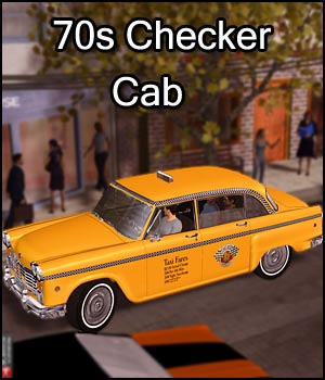 Checker Cab (Poser, Obj, Vue) 3D Models RPublishing