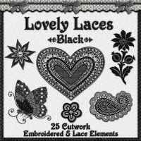 Lovely Laces: Black Lace Elements 3D Models 2D fractalartist01