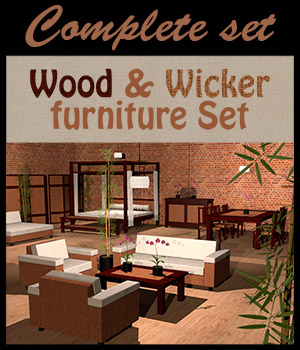 Wood & Wicker furniture set 3D Models 2nd_World