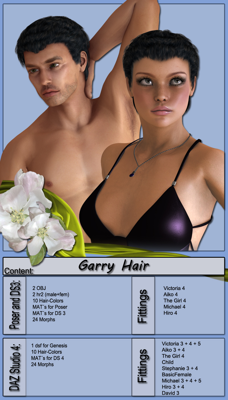 Garry Hair for V4, M4 and G1