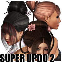 Super Updo 2 - Asian 3D Figure Essentials 3D Models outoftouch