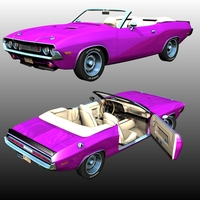 DODGE CHALLENGER 1970 CONVERTIBLE (for POSER) 3D Models Nationale7