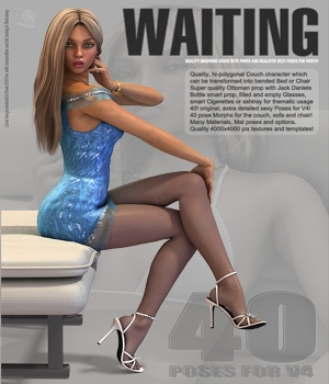 Waiting - Quality Couch, Props and 40 V4 Poses 3D Models 3D Figure Assets hameleon