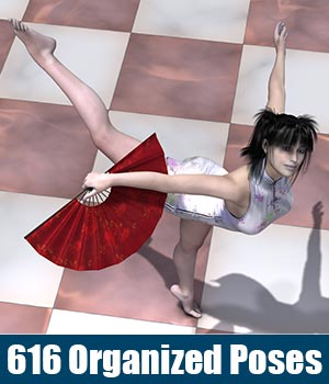 Fan Dance, 616 organized Poses 3D Figure Essentials 3D Models ile-avalon