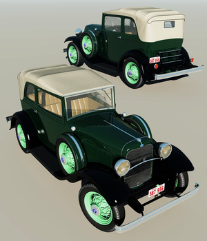 Clyde Barrow's Ford B 400 Sedan Convertible (for Poser ) 3D Models 3DClassics