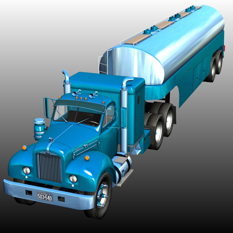 MACK B100 AND TANK TRAILER ( for Poser )