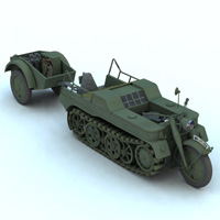 SDKFZ 2 Kleines Kettenkraftrad (for Vue) 3D Models 3D Figure Essentials Digimation_ModelBank