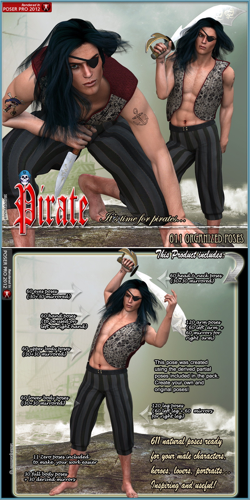 Pirate 611 Organized Poses For M4