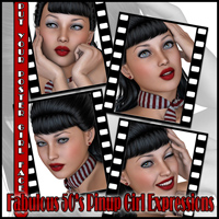 Fabulous 50's Pinup Girl Expressions image 1
