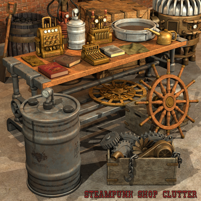 Steampunk shop clutter 3d models nightshift3d for Parlour equipment