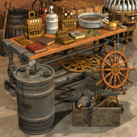 Steampunk Shop Clutter 3D Models Nightshift3D
