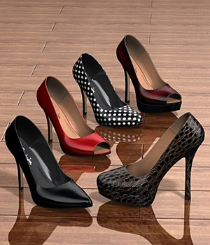 Five pairs of pumps 3D Figure Essentials idler168