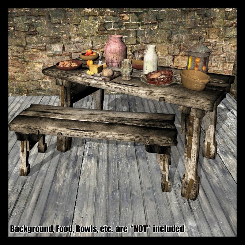 Medieval Fantasy Table & Bench