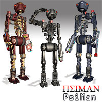 PsiMan Robot Man Stand Alone Figures Themed Props/Scenes/Architecture Simon-3D