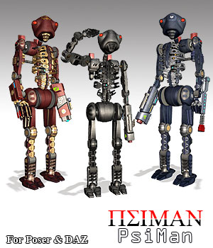 PsiMan Robot Man 3D Models 2D Graphics Simon-3D
