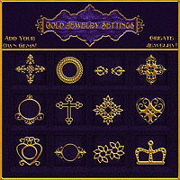 Gold Jewelry Settings Design Resource 2D And/Or Merchant Resources Themed fractalartist01