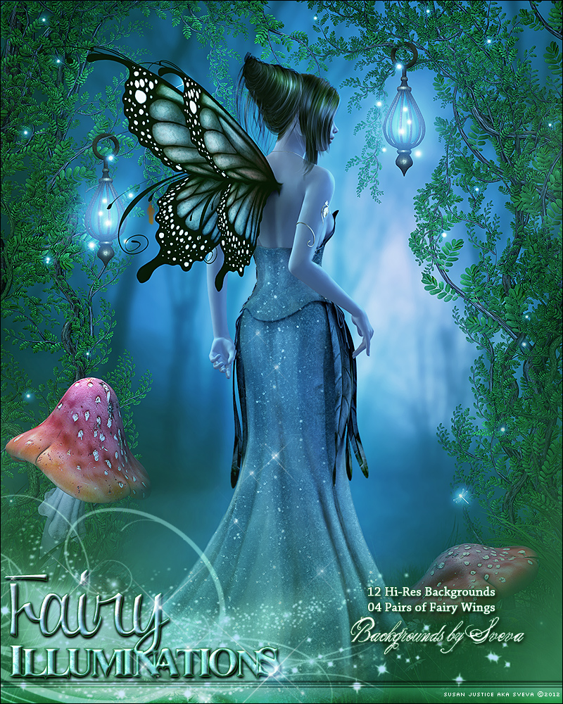 Fairy Illuminations Backgrounds and Wings
