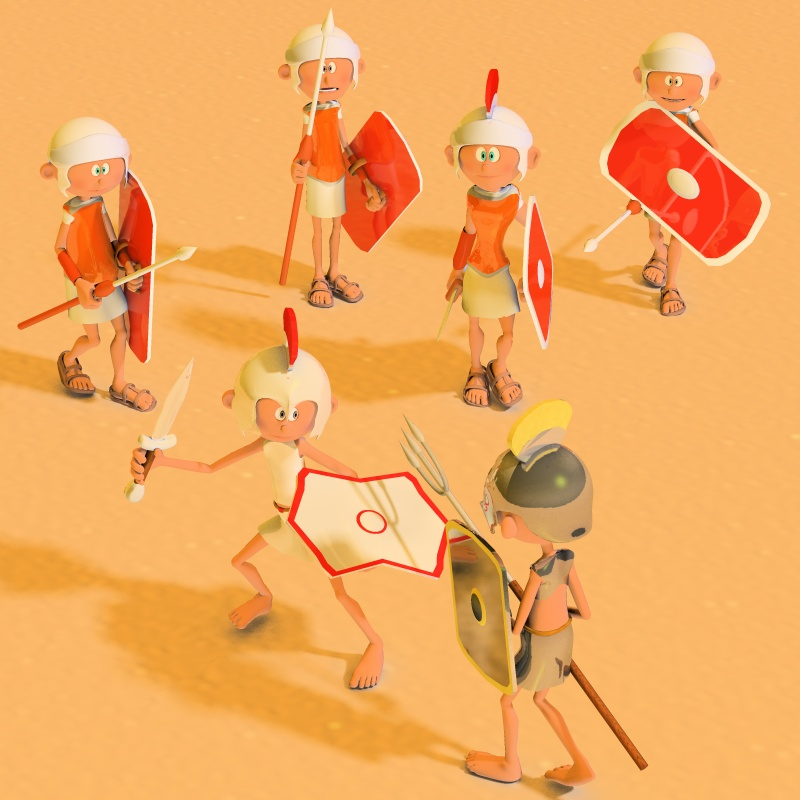 3DToons Roman Soldiers and Gladiators for Toon Generation