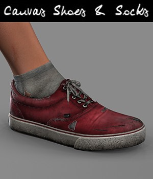 Canvas Shoes and Socks for V4 3D Figure Assets hitman47