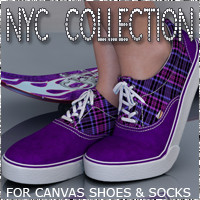 NYC for Canvas Shoes and Socks 3D Figure Essentials 3DSublimeProductions