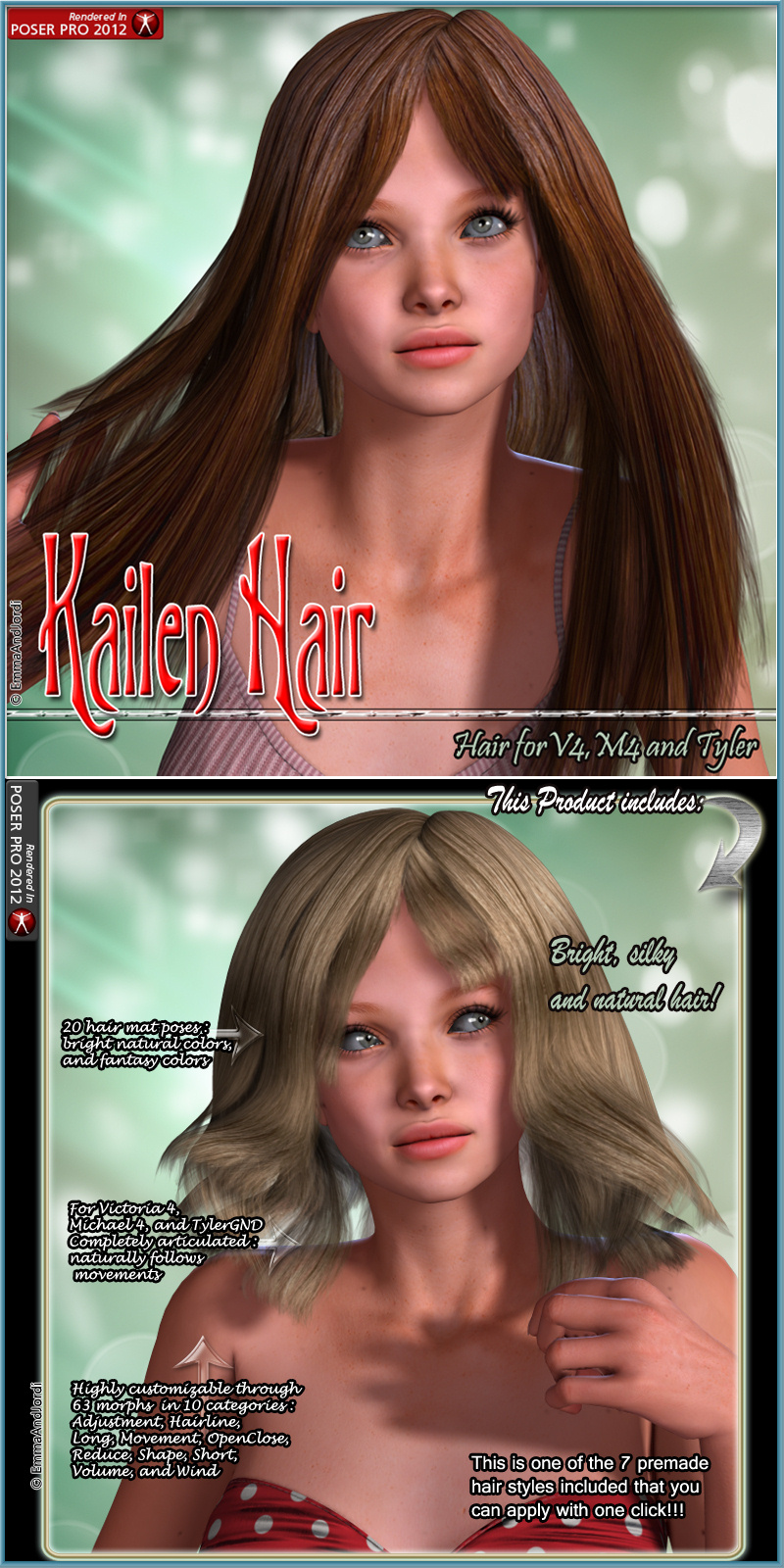 Kailen Hair For V4 M4 and Tyler