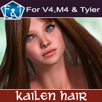 Kailen Hair For V4 M4 and Tyler 3D Figure Assets EmmaAndJordi