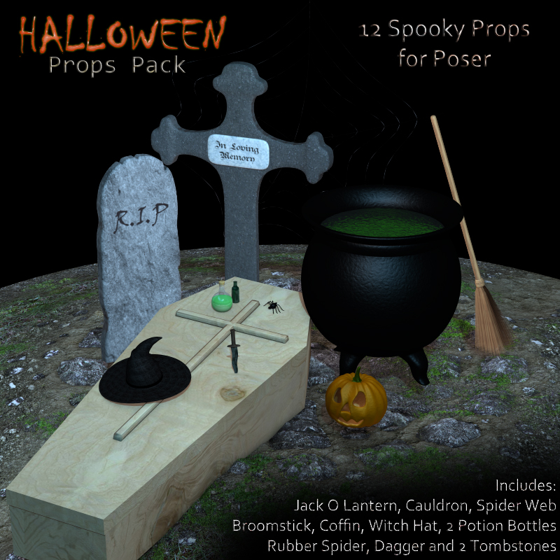 HALLOWEEN Props Pack for Poser