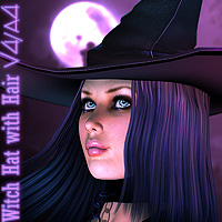 Witch Hat and Hair V4/A4 Hair Accessories Yanelis3D