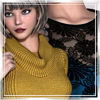 Vogue for TurtleNeck Style2 Clothing Themed Romantic-3D