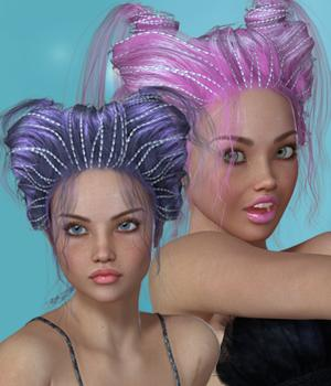 Brixie Hair for V4 3D Figure Assets SWAM