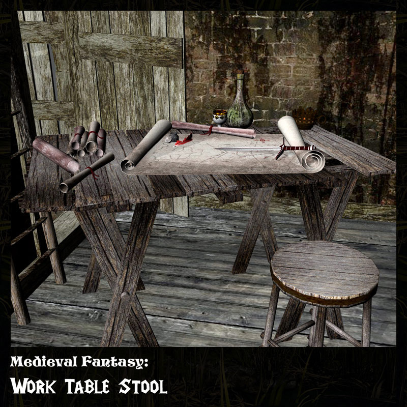 Medieval Fantasy Work/Map Table & Stool