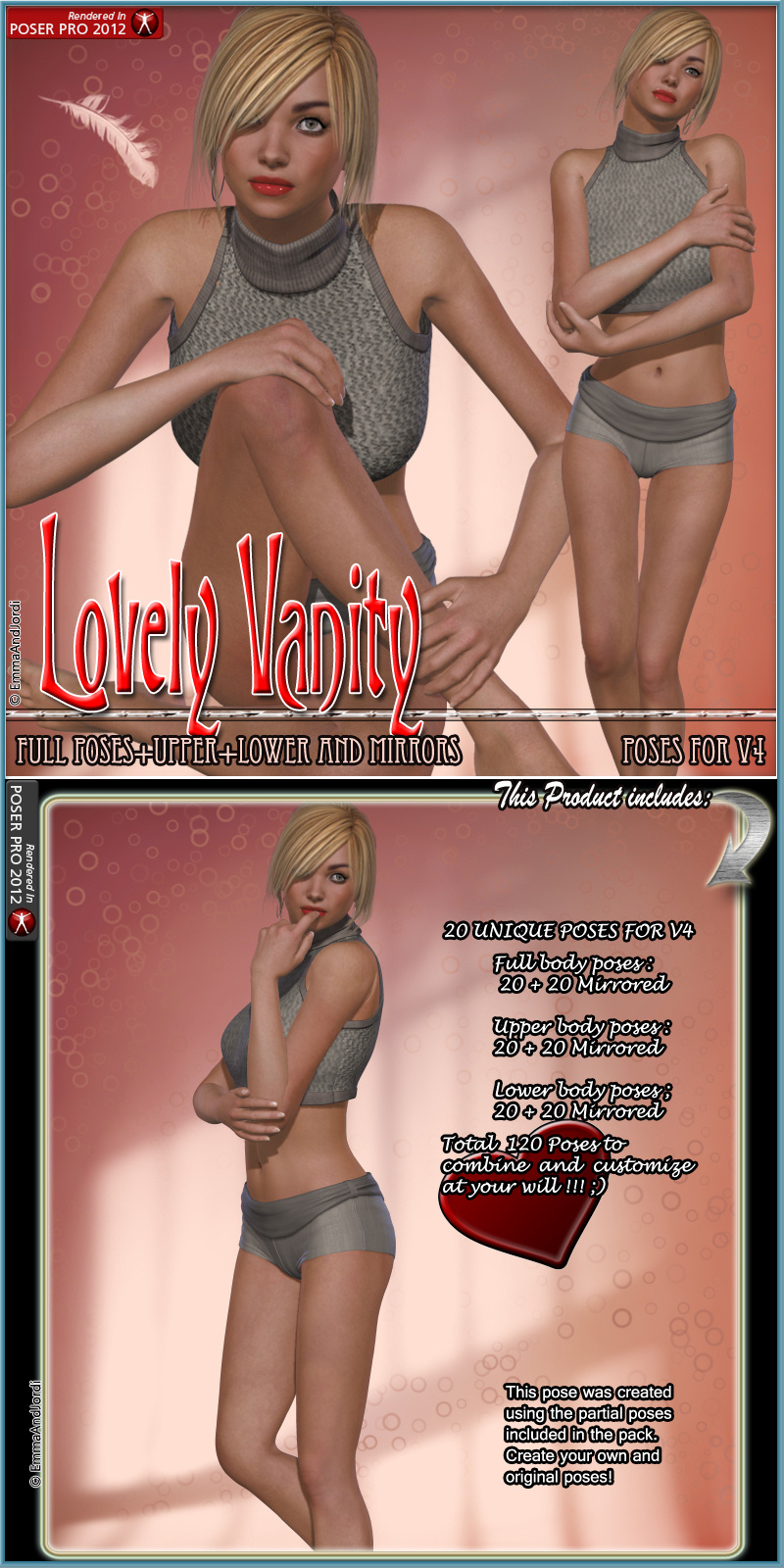 Lovely Vanity Poses Pack For V4